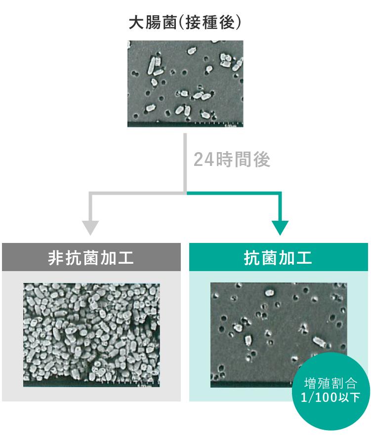 抗菌加工と非加工の細菌の増殖イメージ写真